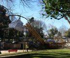 Queda de grua no Jardim Público causa apenas danos materiais